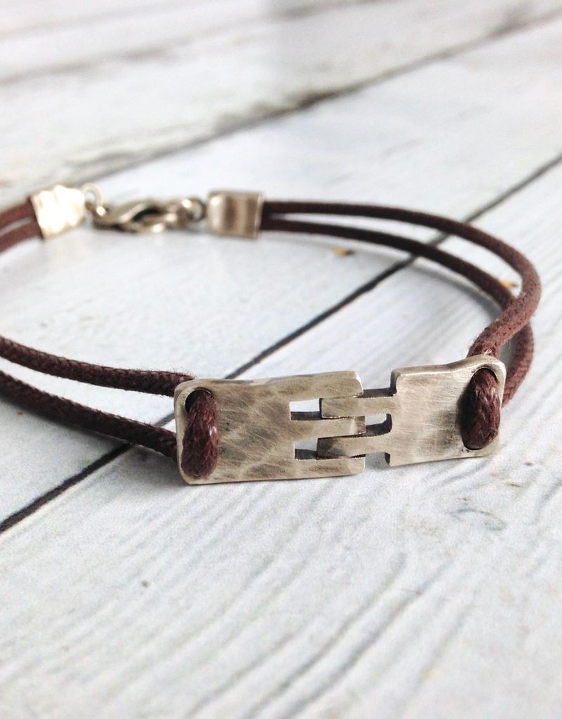 Sterling Hingle Bracelet on Brown Cord