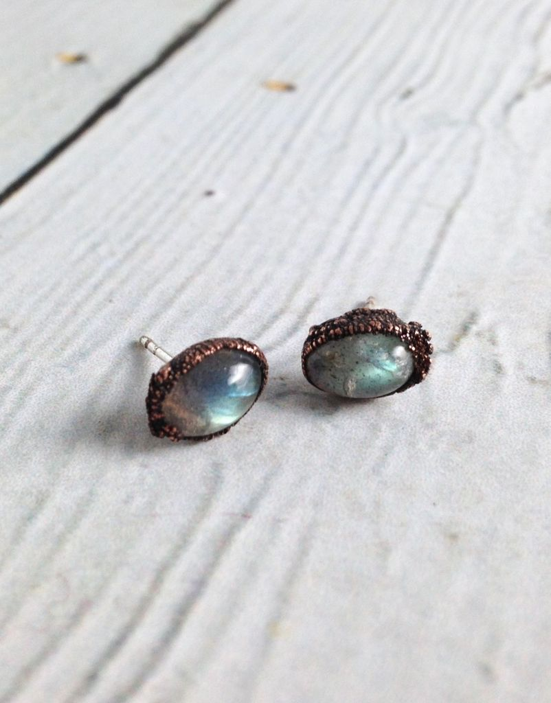 Raw Labradorite Stud Earrings