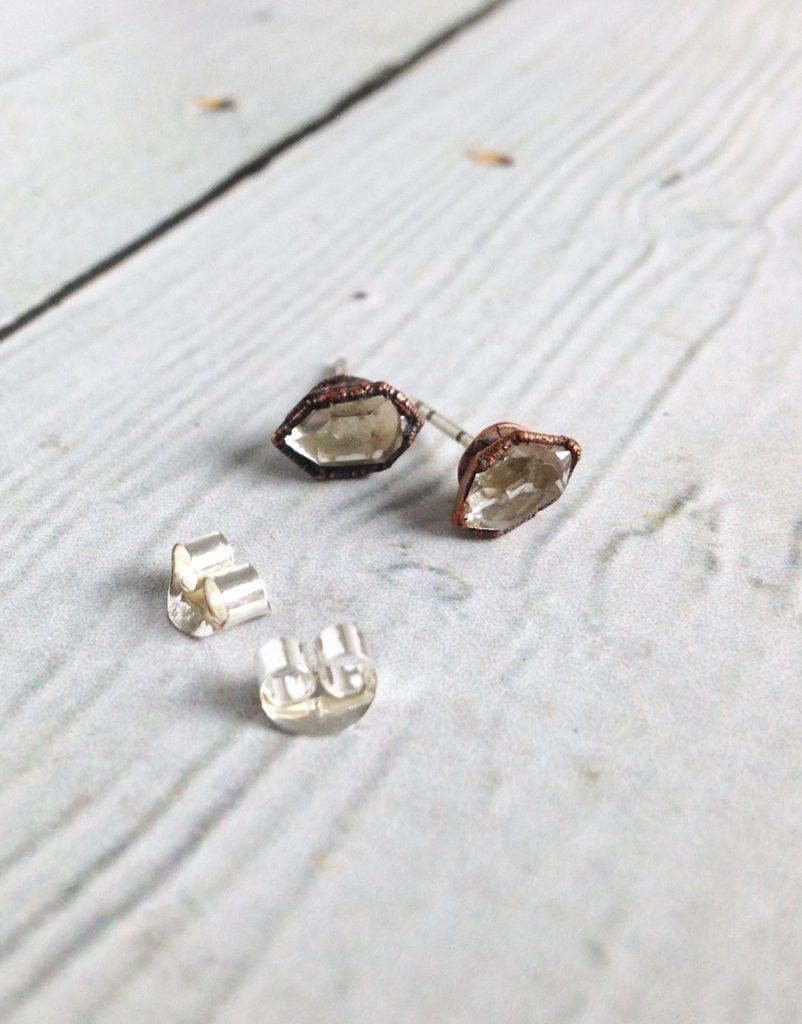 Raw Tibetan Quartz Point Stud Earrings