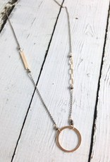 Handmade 14k Gold Filled Circle and Bar Necklace on Oxidized Sterling Chain