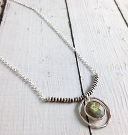 Handmade Faceted Labradorite Coin Necklace