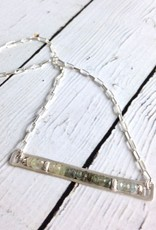 Handmade Matte Sterling Silver Horizontal Frame Necklace with Row of Aquamarine Stones