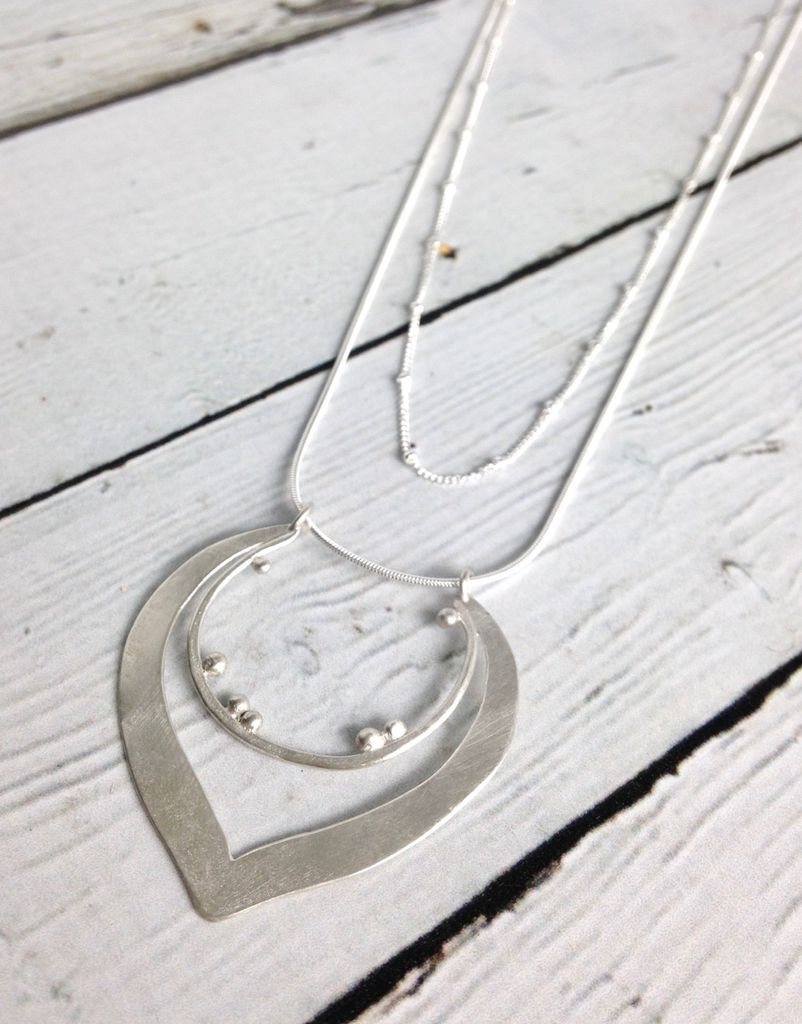 Handmade Matte Sterling Silver Lotus on Double Strand Necklace
