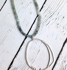 Handmade Sterling Silver Organic Pendant on Double Strand Moss Aquamarine Stones Necklace