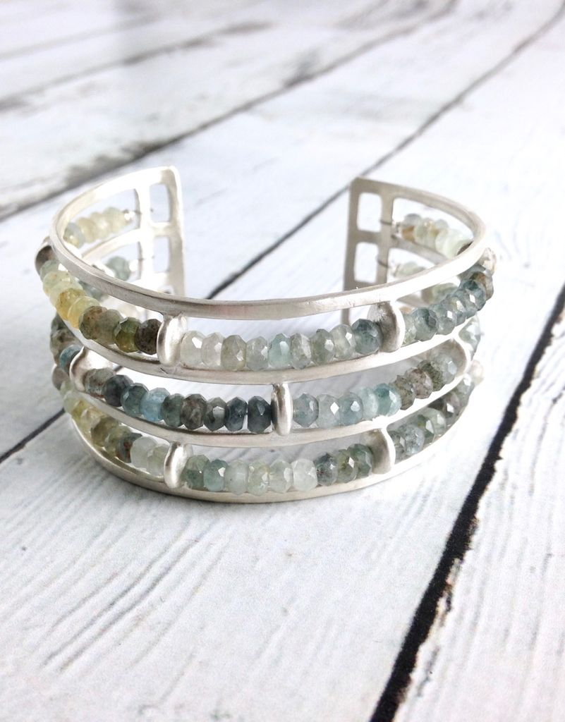 Handmade Matte Sterling Silver Wide Cuff Bracelet With 3 Rows Of Moss Aquamarine By Julia Britell Designs