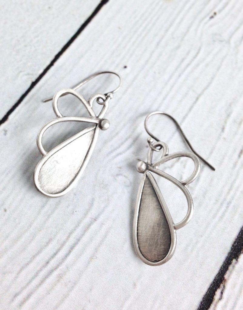 Handmade Matte Sterling Silver Petal Earrings