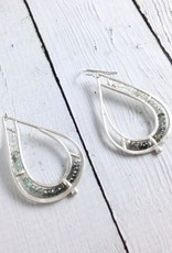 Handmade Matte Sterling Silver Teardrop Earrings with Row of  Moss Aquamarine Stones