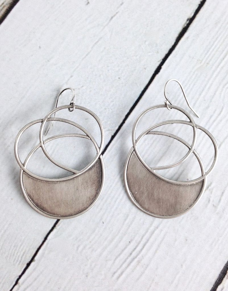 Handmade Sterling Silver Oxidized and Textured Multi-Circle Earrings with Solid Halfmoon