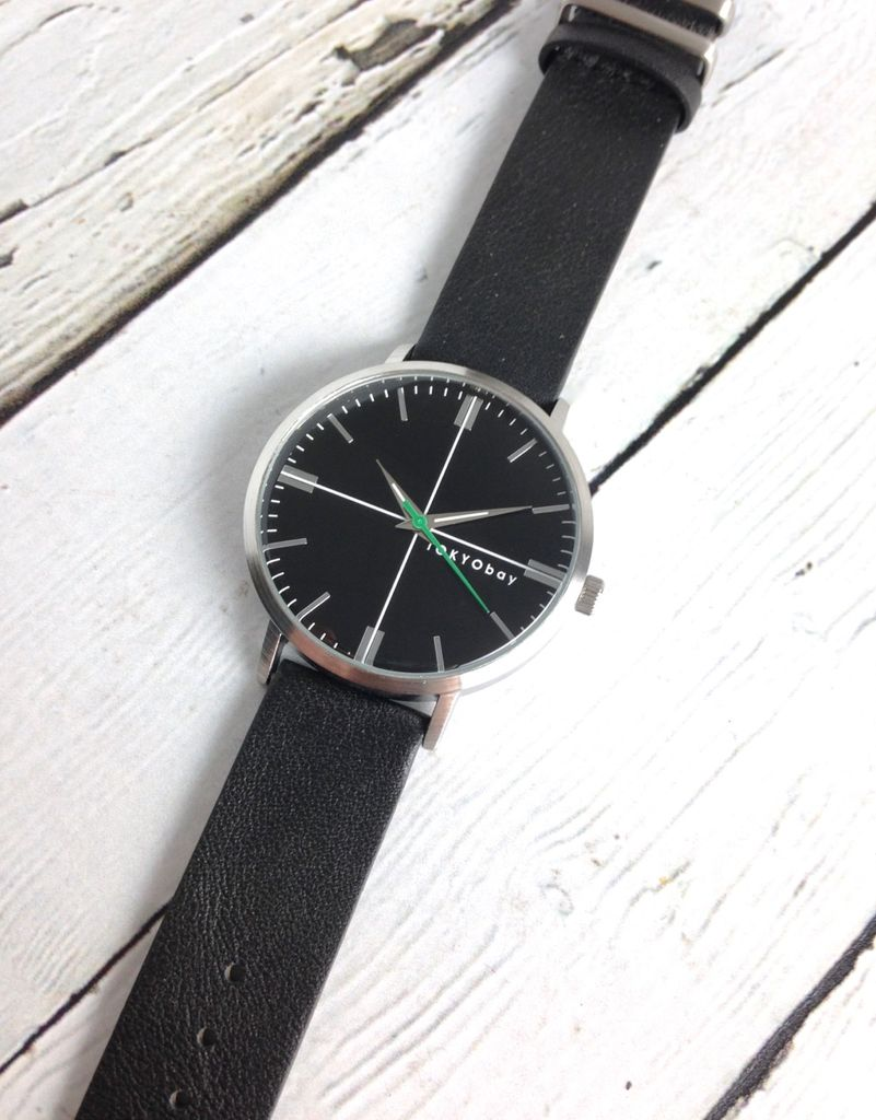 Aries Watch, Black Face with Black Leather Strap