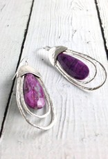 Handmade Earrings with Long Silver Teardrops with Sugilite