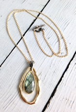 Handmade Necklace with Long Teardrop Shaped Labradorite, 18k Gold Vermeil and Antiqued Sterling Silver