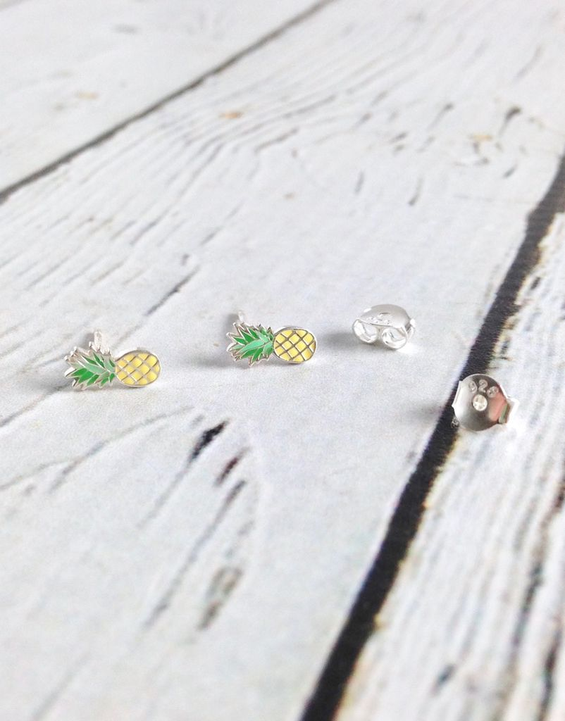 Sterling Silver and Colored Enamel Pineapple Earrings