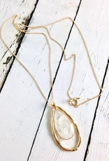 Handmade Necklace with Large Teardrop Shaped Moonstone and 18k Gold Vermeil