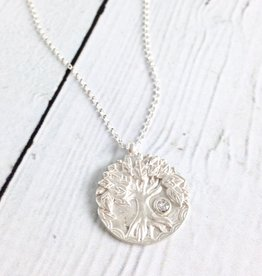 "Handmade ""Lift Your Eyes Upon"" Tree Stone Necklace"