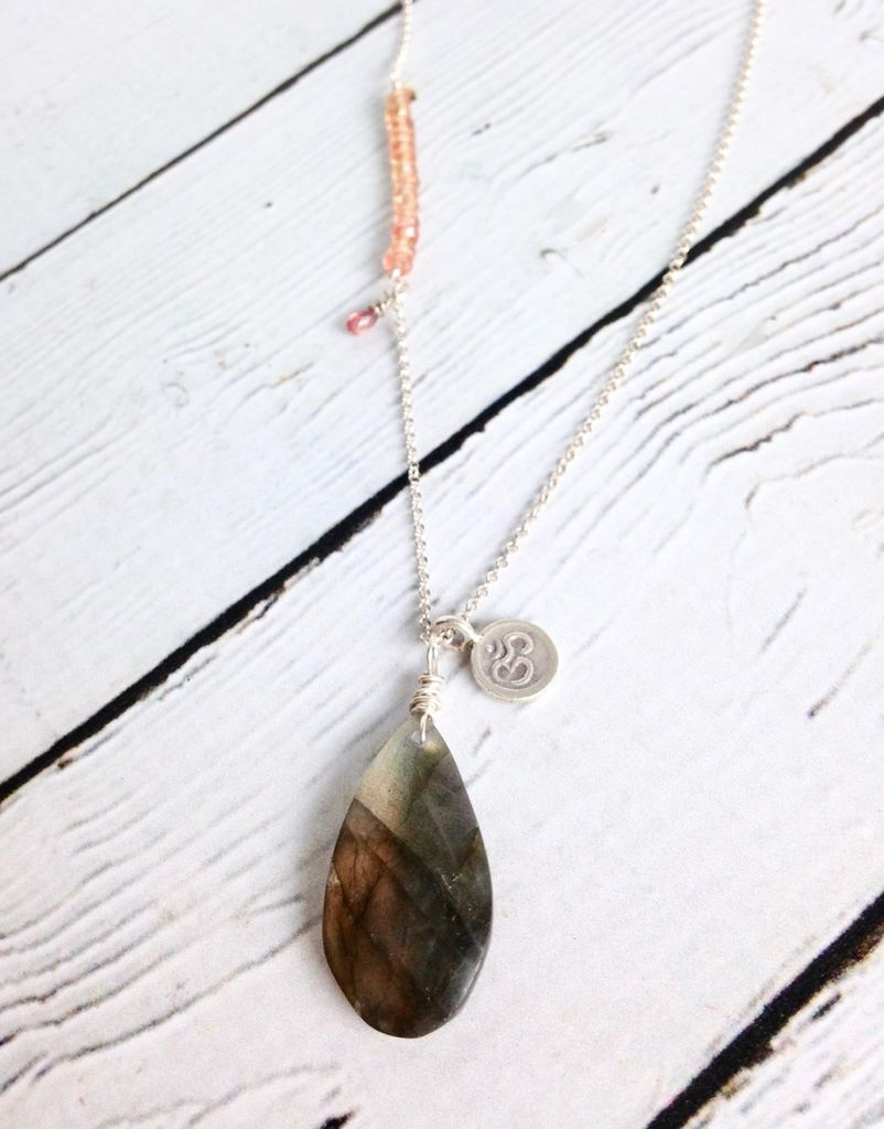 Handmade Silver Necklace with Labradorite, Padparadscha Sapphires