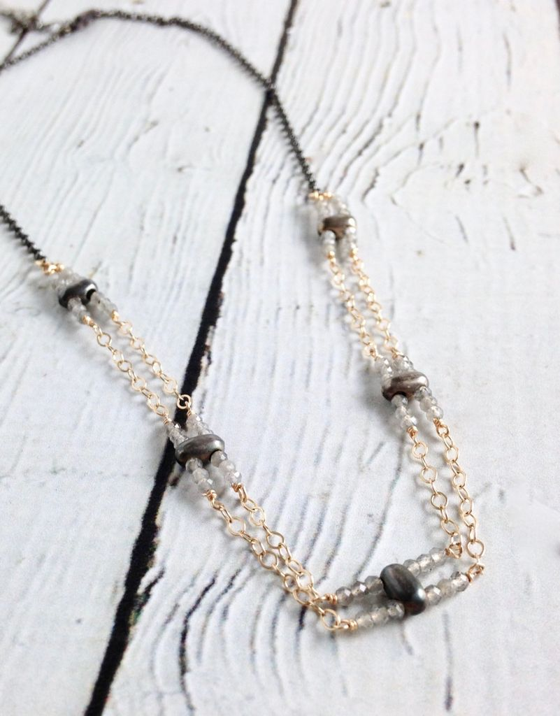 Handmade Sterling Silver Necklace with Labradorite, Oxidize Silver Chain and Double 14k Gold Filled Chain