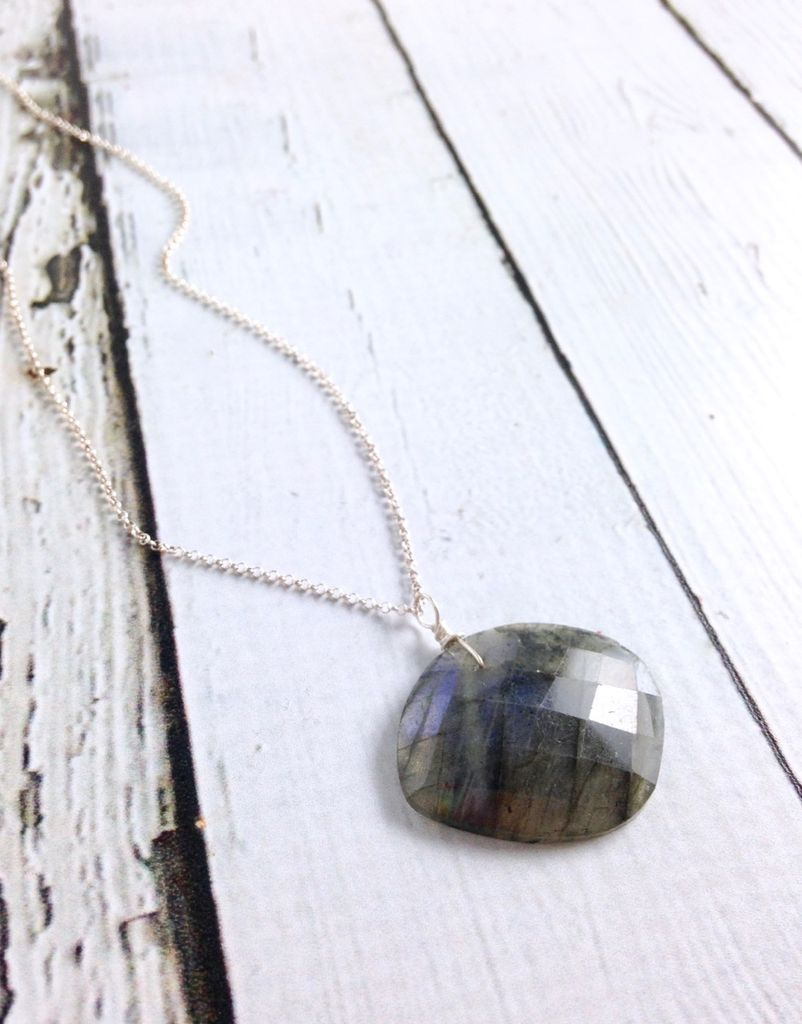 Handmade Silver Necklace with Labradorite Slab
