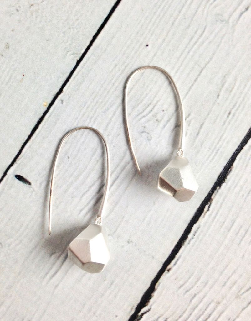 Matte Sterling Silver Faceted Drop Earrings
