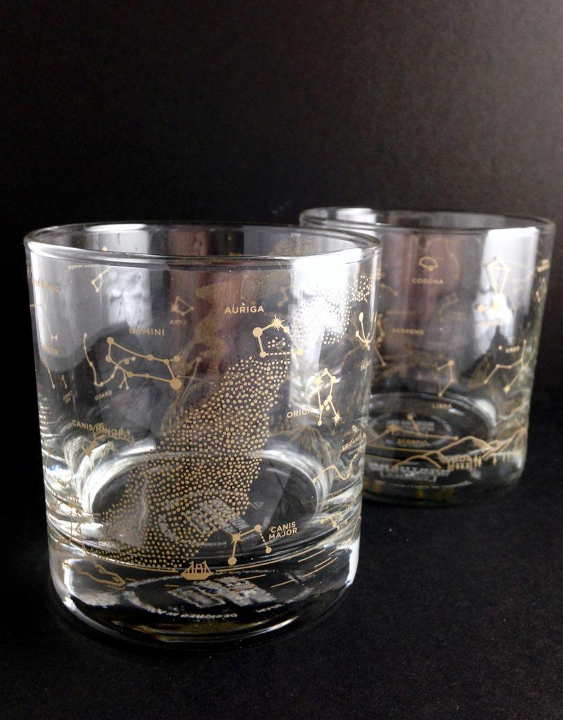 Pair of Northern Hemisphere Night Sky Whiskey Glasses