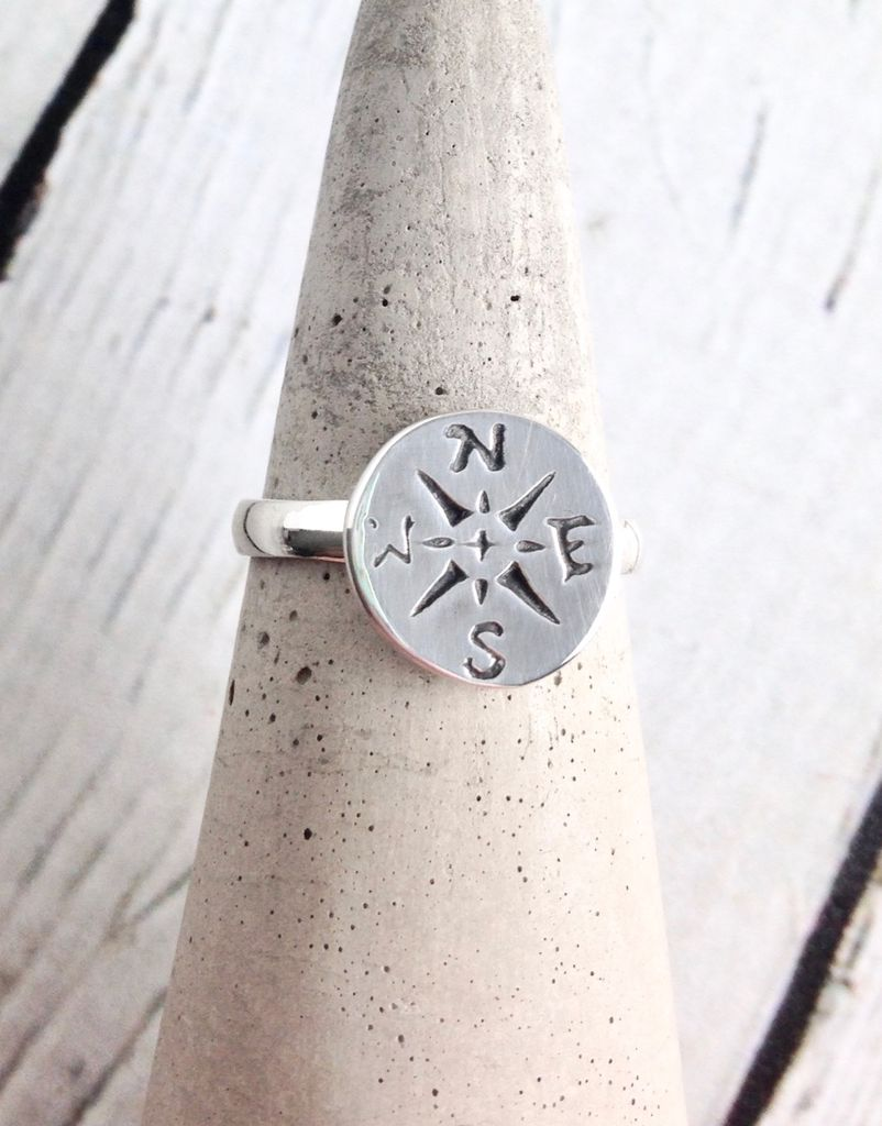 Sterling Silver Journey Compass Ring Size 9