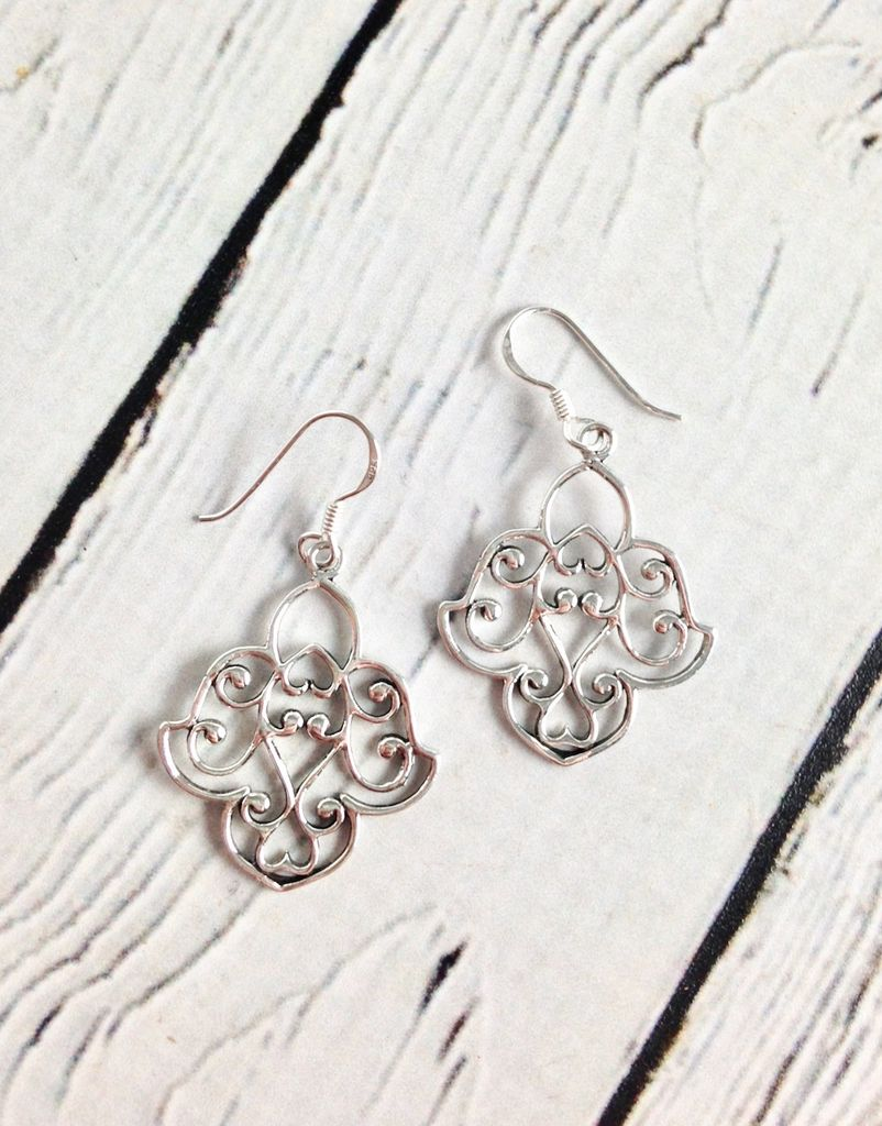 Sterling Silver Lotus Design Earrings Silver In The City