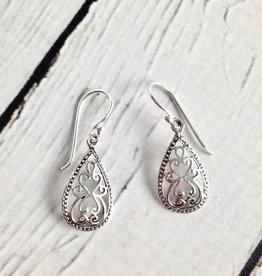 Sterling Silver Scroll Teardrop Earrings