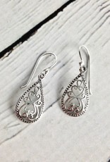 Sterling Silver Scroll Teardrop Earrings