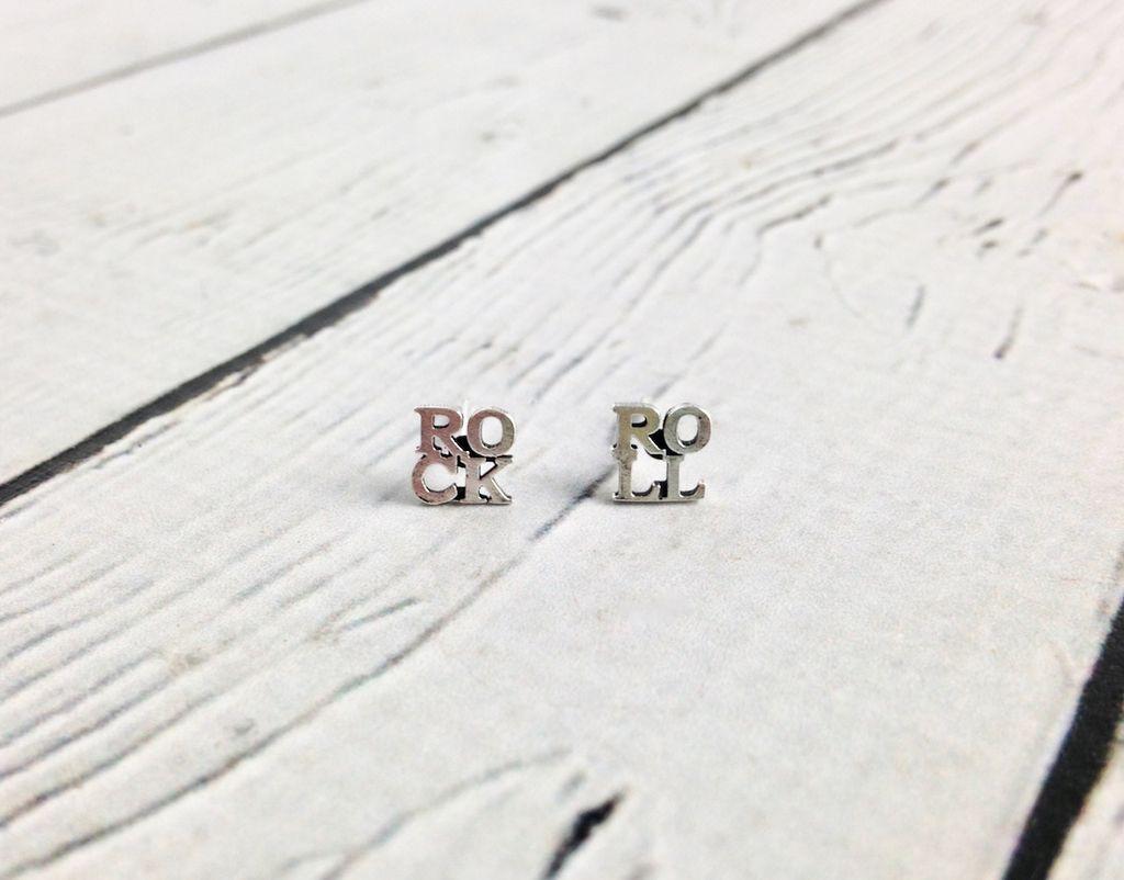 Sterling Silver ROCK & ROLL Stud Earrings