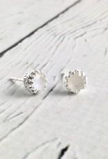 Sterling Silver Round Raindbow Moonstone Stud Earrings