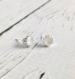 Sterling Silver Round Raindbow Moonstone Stud Earrings