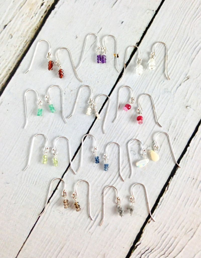 Handmade Tiny Birthstone Stack Earrings