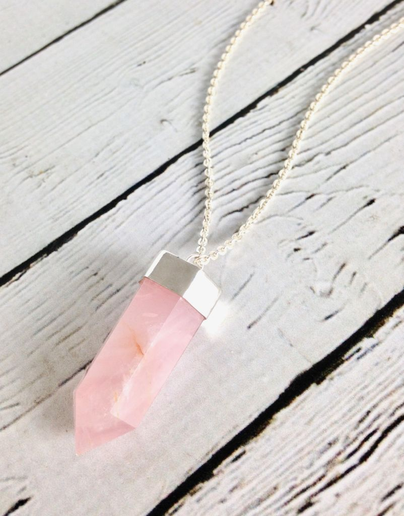 Sterling Silver Rose Quartz Power Crystal Necklace