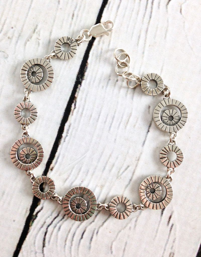 Sterling Silver and Marcasite Circle Link Bracelet