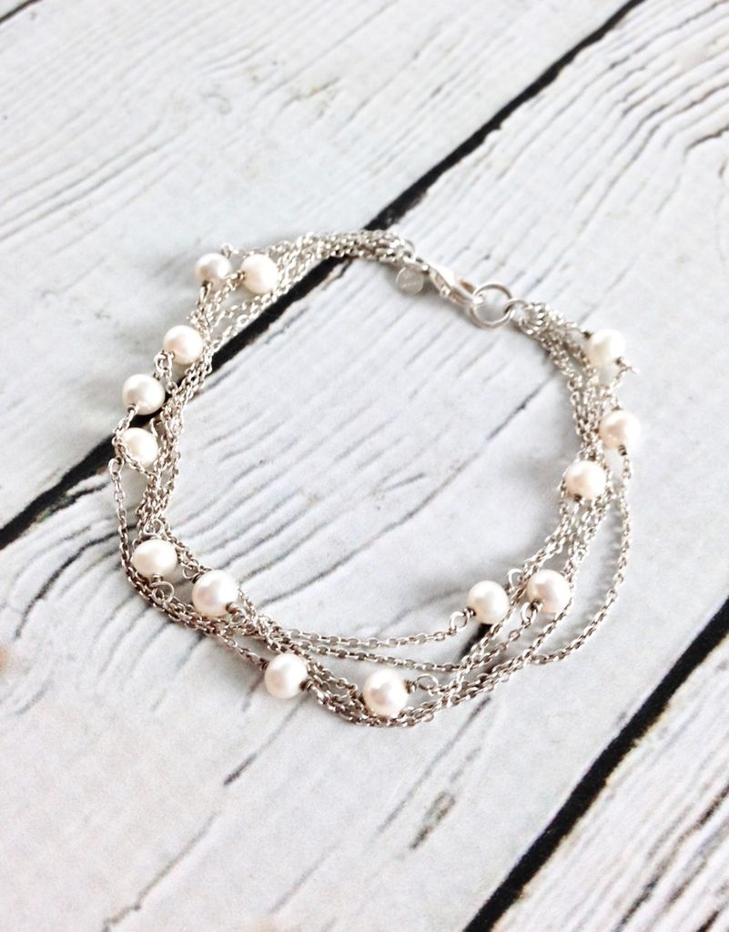 Sterling Silver Multi-Strand Bracelet with White Pearls