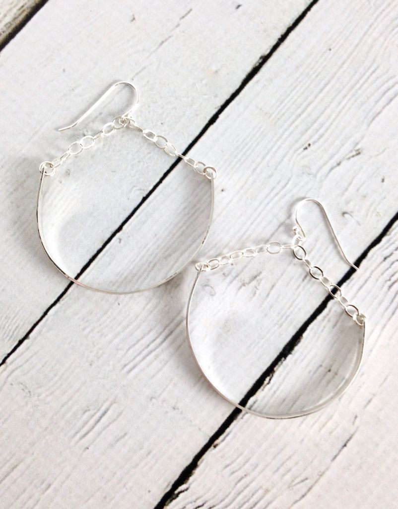 Handmade Sterling Silver Earrings with Huge Shiny Hoops