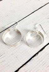 Handmade Sterling Silver Earrings with Medium Wide Shiny Hoops