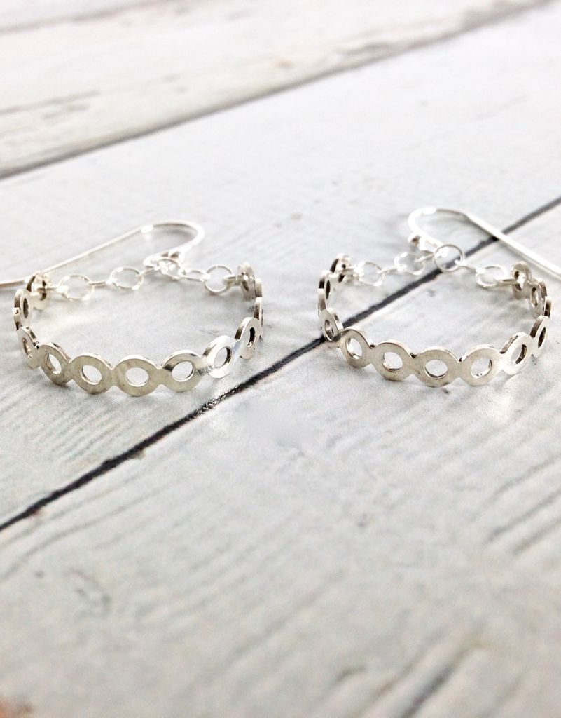 Handmade Sterling Silver Earrings with Medium Open Circle Shiny Hoops