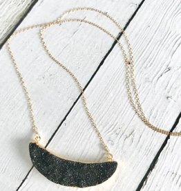 Handmade 14k Goldfill Necklace with Black Druzy Crescent Moon