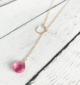 Handmade 14k Goldfill Lariat Necklace with Pink Tourmaline