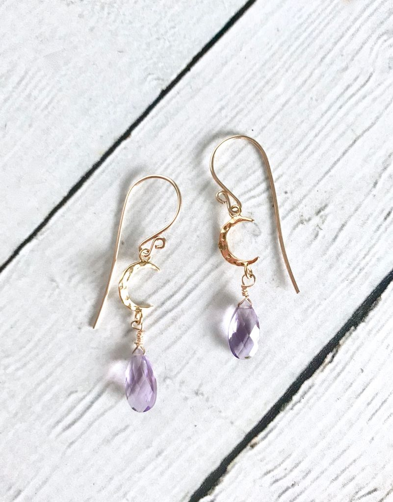 Handmade 14k Goldfill Amethyst Crescent Earrings