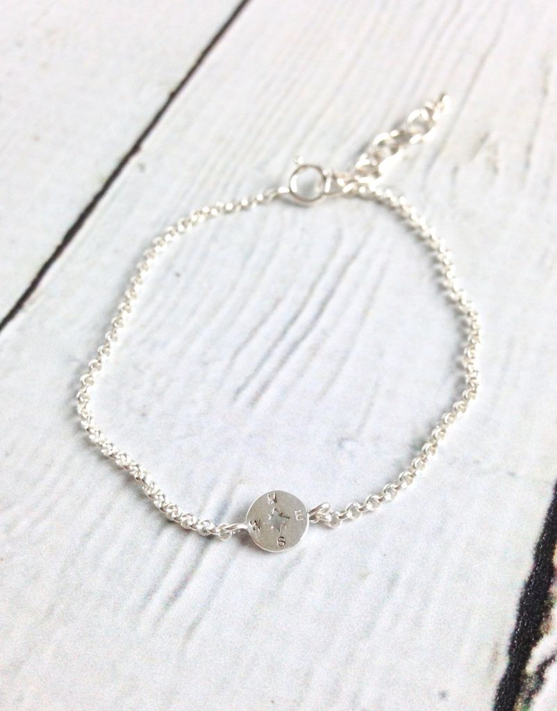 Sterling Silver Lucky Charm Compass Charm Bracelet Silver In The City