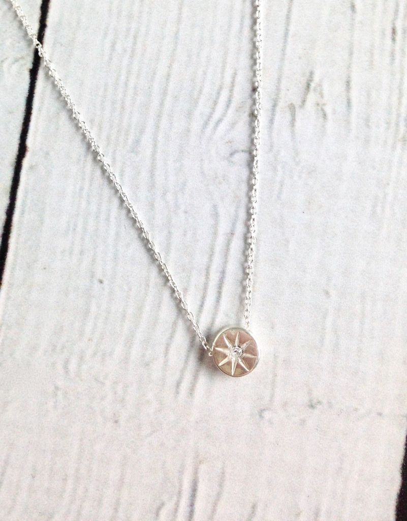 "Sterling Silver ""It's the Little Things"" Crystal Circle Necklace"
