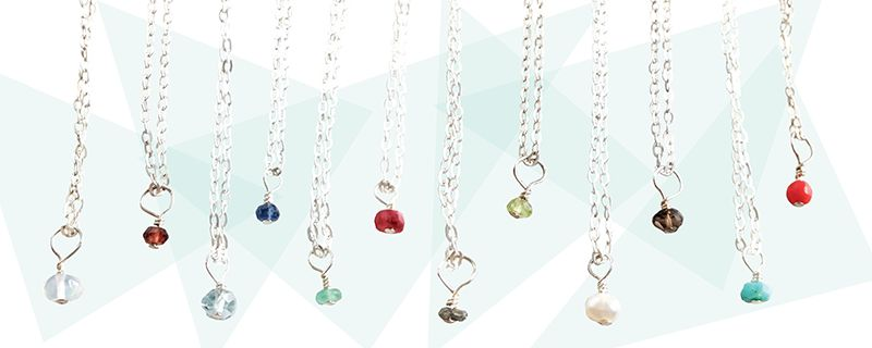 Tiny Birthstone Necklaces & Earrings from Evan Knox