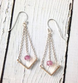 "Handmade Sterling Silver Earrings with Short 14kt Gold Fill ""V"" with Pink Ruby on Chain"
