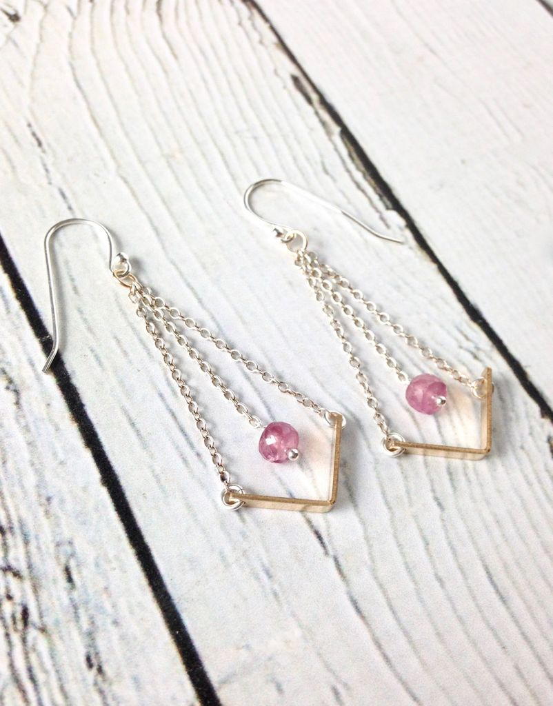 """Handmade Sterling Silver Earrings with Short 14kt Gold Fill """"V"""" with Pink Ruby on Chain"""