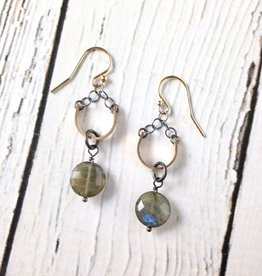 2bd40eaed Handmade Sterling Silver Earrings with Labradorite Coin, Oxidized Ring on  14kt Gold Fill Curved Bar