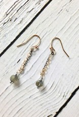 Handmade Sterling Silver Earrings with Two Chains, 14kt Gold Fill and Oxidized Sterling Silver, Labradorite Disco Ball, Rondelle