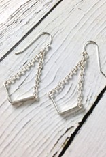 "Handmade Sterling Silver Earrings with 14kt Gold Fill ""V"" with Shiny Chains"