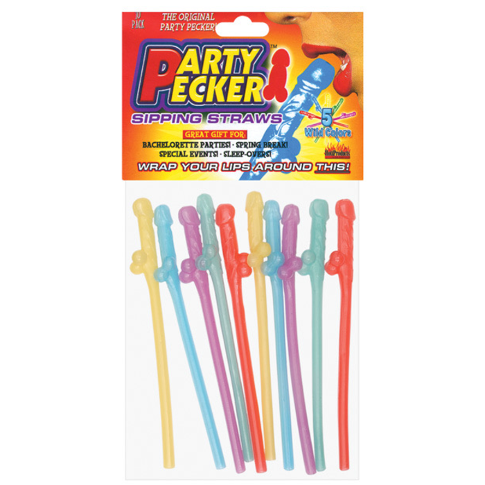 MULTI-COLOR PENIS STRAWS x 10