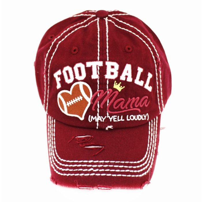 Burgundy Football Mama Baseball Cap